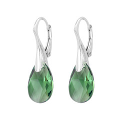 Earrings green Swarovski crystal drop 925 silver - 1789