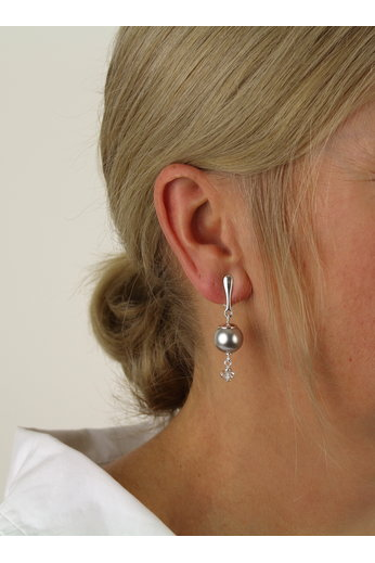 Clip earrings light grey pearl Swarovski crystal - sterling silver - ARLIZI 1769 - Claire