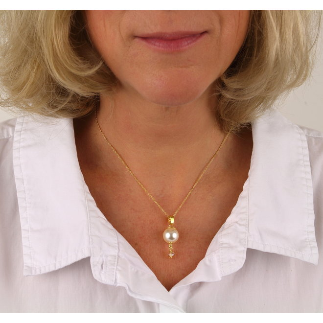 Necklace cream pearl Swarovski crystal gold-coloured - gold plated sterling silver - ARLIZI 1758 - Claire