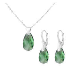 Jewelry set sterling silver - crystal drop green - 1815