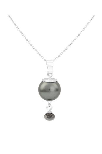 Necklace dark grey pearl Swarovski crystal - sterling silver - ARLIZI 1773 - Claire