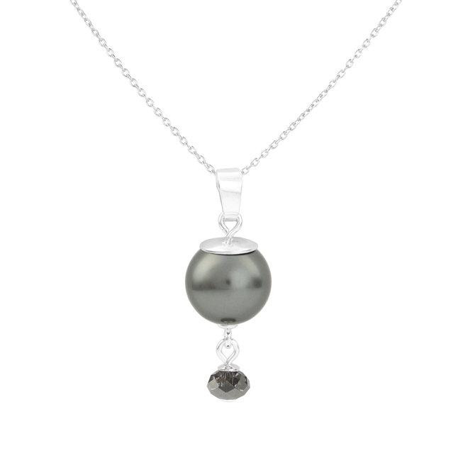 Ketting grijze parel hanger - 925 zilver - 1773