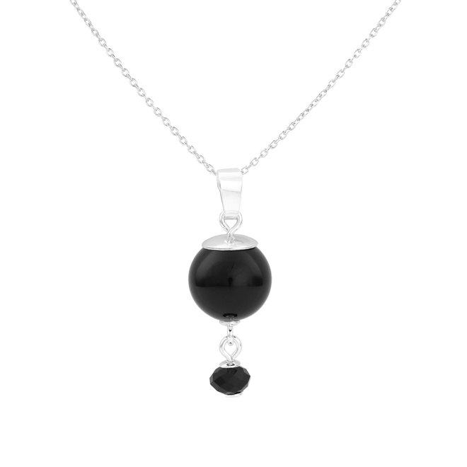Ketting zwarte parel hanger - 925 zilver - 1776