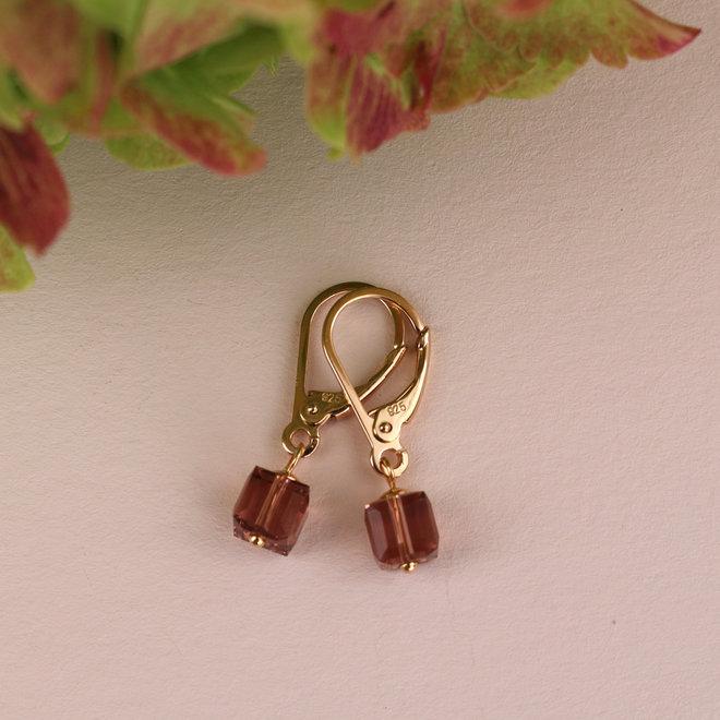 Earrings Swarovski crystal cube pink - sterling silver rose gold plated - ARLIZI 1744 - Kyra