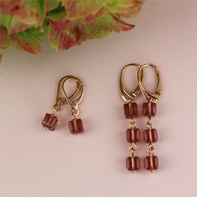 Earrings Swarovski crystal cube pink - sterling silver rose gold plated - ARLIZI 1745 - Kyra