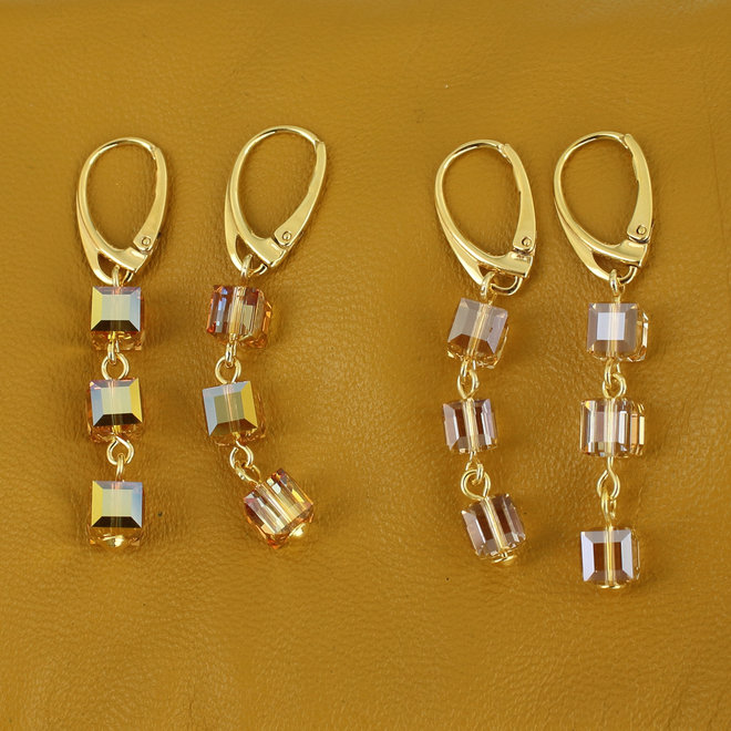 Ohrringe Swarovski Kristall Würfel - Sterling Silber vergoldet - ARLIZI 1743 - Kyra