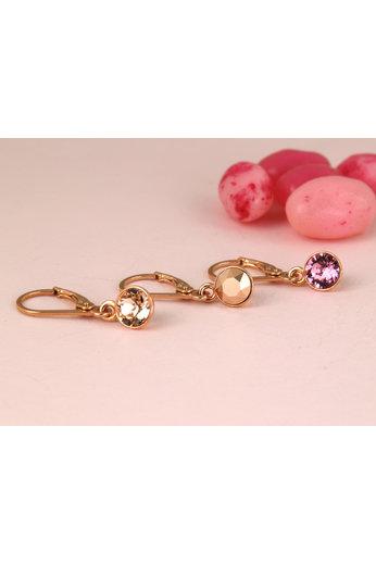 Earrings Swarovski crystal pendant - sterling silver rose gold plated - ARLIZI 1784 - Nala
