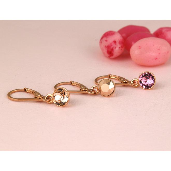 Earrings Swarovski crystal pendant 6mm - sterling silver rose gold plated - ARLIZI 1645 - Nala