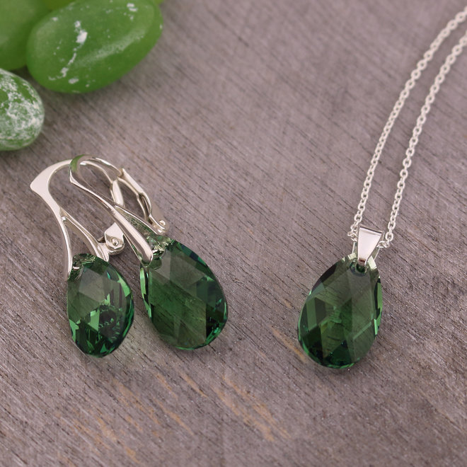 Jewelry set sterling silver - necklace earrings Swarovski crystal drop green - ARLIZI 1815 - Romy