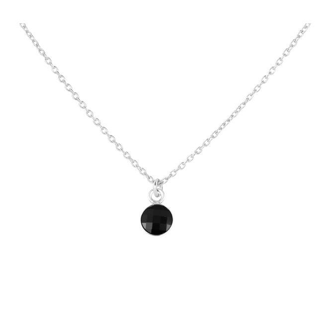 Halskette schwarz Kristall Anhänger Sterling Silber - 1796