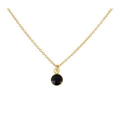 Halskette schwarz Kristall Anhänger 925 Silber vergoldet - 1799