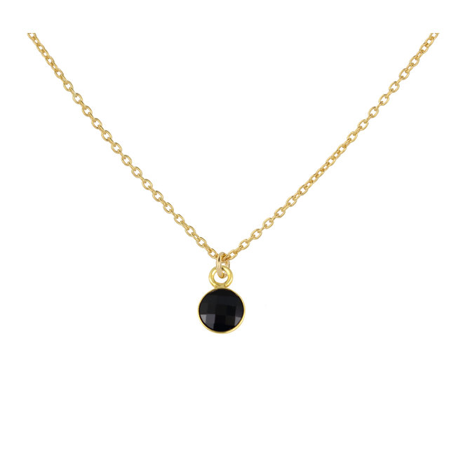 Necklace black crystal pendant 925 silver gold plated - 1799