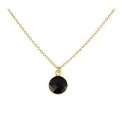 Halskette schwarz Kristall Anhänger 925 Silber vergoldet - 1811
