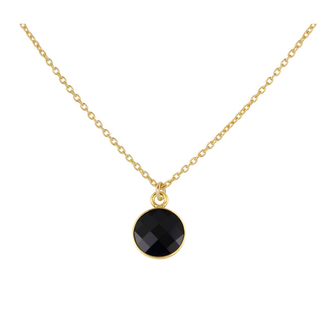 Necklace black crystal pendant 925 silver gold plated - 1811