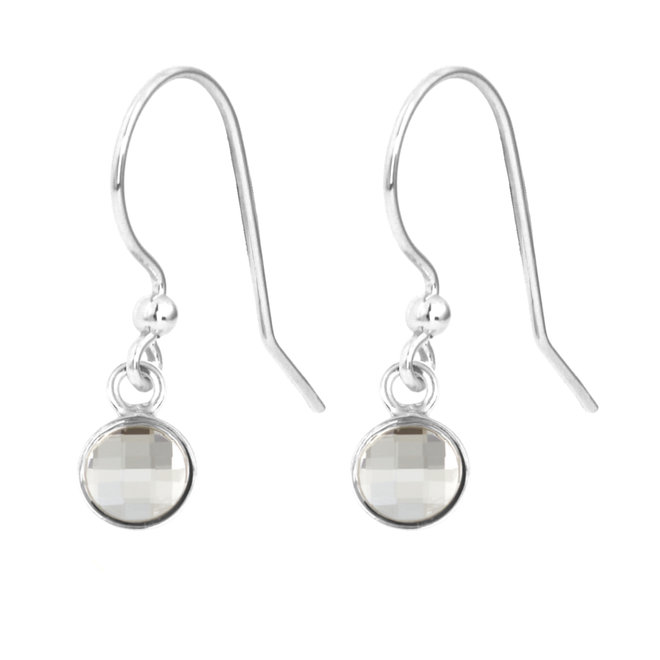 Earrings transparent crystal - sterling silver - 1792