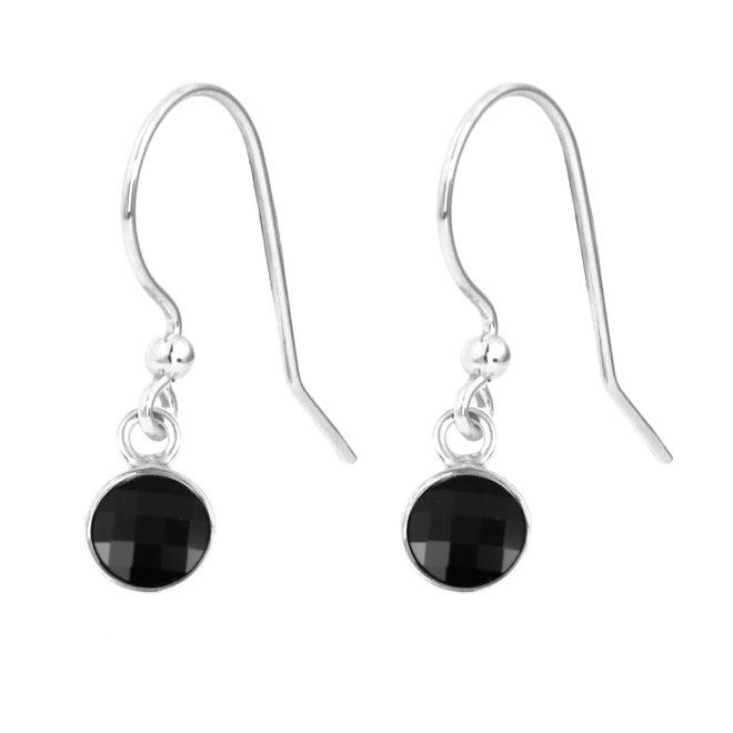 Oorbellen zwart kristal - sterling zilver - 1795