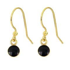 Ohrringe schwarz Kristall - 925 Silber vergoldet - 1798