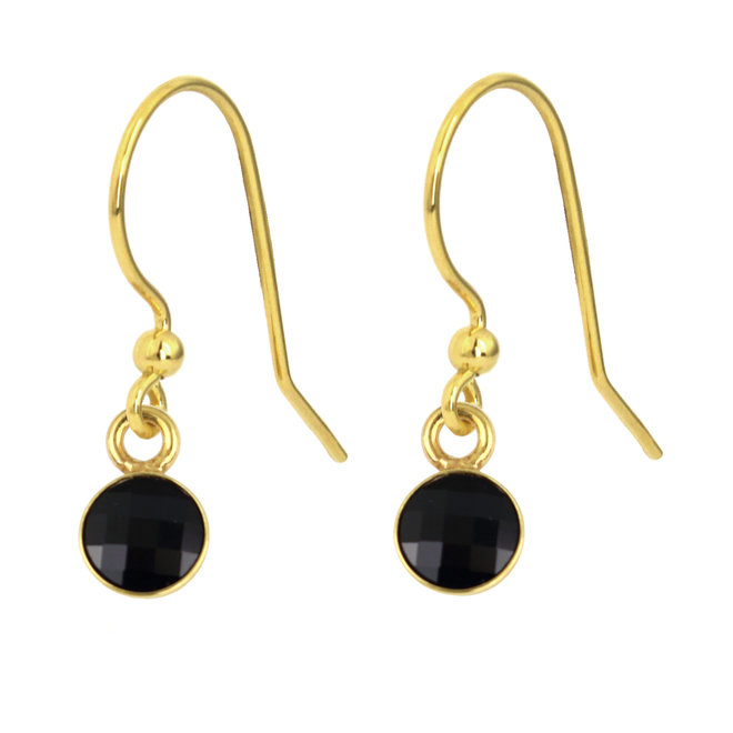 Earrings black crystal - 925 silver gold plated - 1798