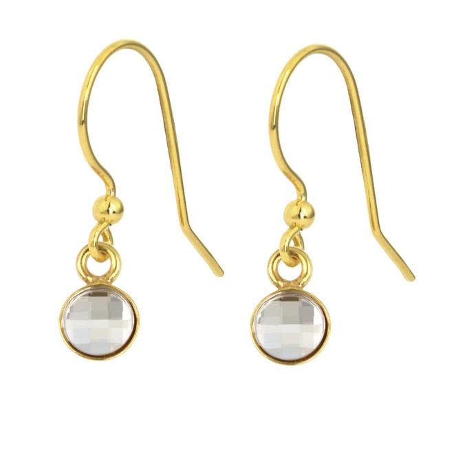 Earrings transparent Swarovski crystal drop earrings - sterling silver gold plated - ARLIZI 1801 - Joy