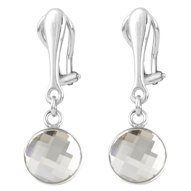 Clip on earrings transparent crystal - sterling silver - 1804