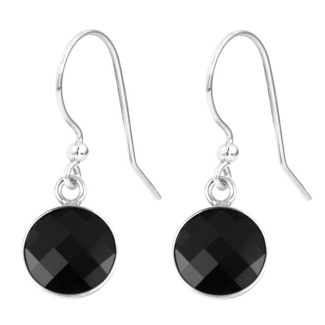 Oorbellen zwart kristal - sterling zilver - 1806