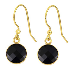 Earrings black crystal - 925 silver gold plated - 1809