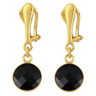 Clip on earrings black crystal - 925 silver gold plated - 1810