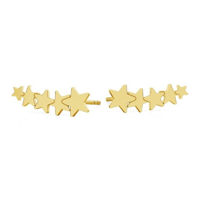 Earrings star ear climber - sterling silver gold plated - 1817