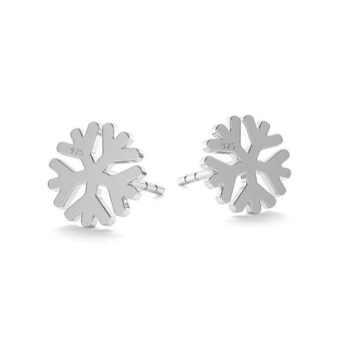 Earrings snowflake studs - sterling silver - 1818