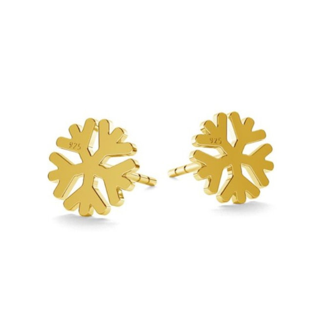 Earrings snowflake studs - sterling silver gold plated - 1819