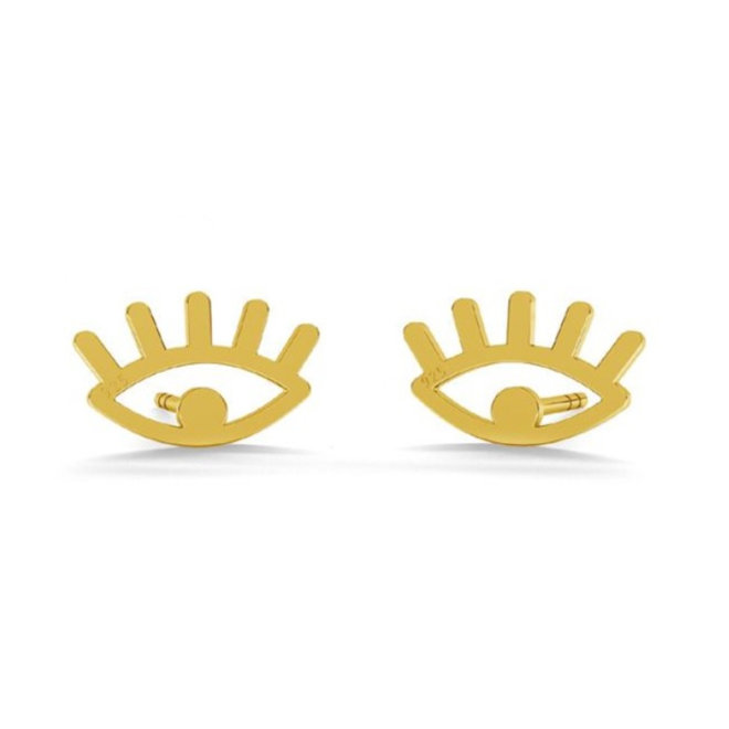 Earrings eyes studs - sterling silver gold plated - 1821