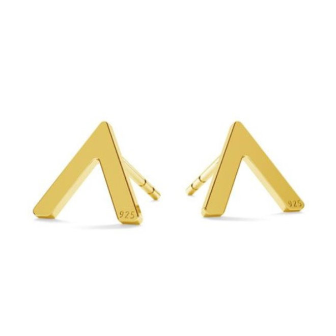 Earrings V studs - sterling silver gold plated - 1823