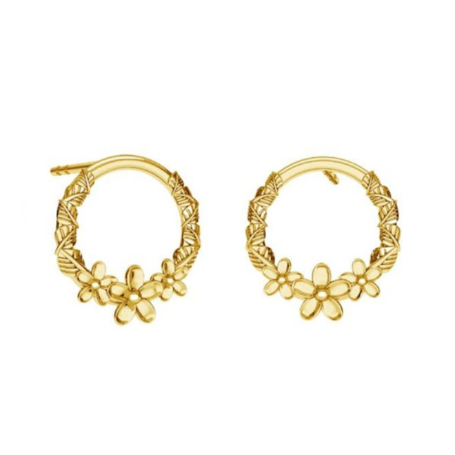 Earrings flower studs - sterling silver gold plated - 1825