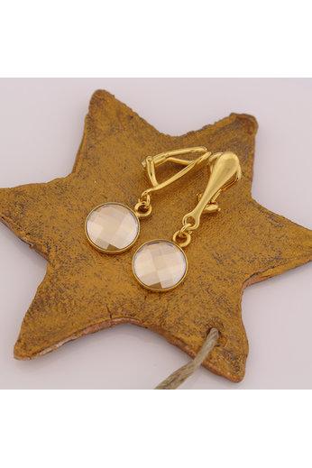 Earrings Swarovski crystal clip earrings - sterling silver gold plated - ARLIZI 1813 - Joy