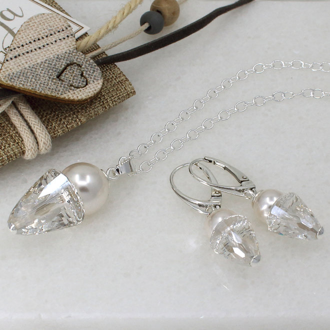 Halskette weiß Swarovski Perle Kristall Anhänger - Sterling Silber - ARLIZI 1464 - Kate