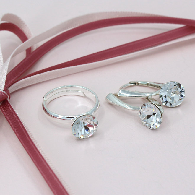 Ring transparent Swarovski crystal - sterling silver - ARLIZI 1291 - Lucy
