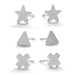 Earrings star triangle cross - sterling silver - 1828