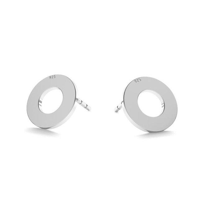 Earrings circle ear studs - sterling silver - 1829