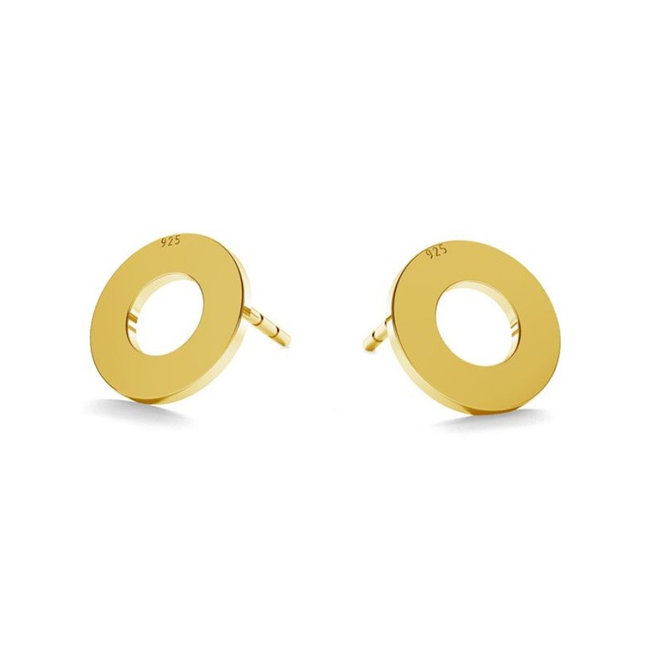 Earrings circle ear studs - sterling silver gold plated - 1830