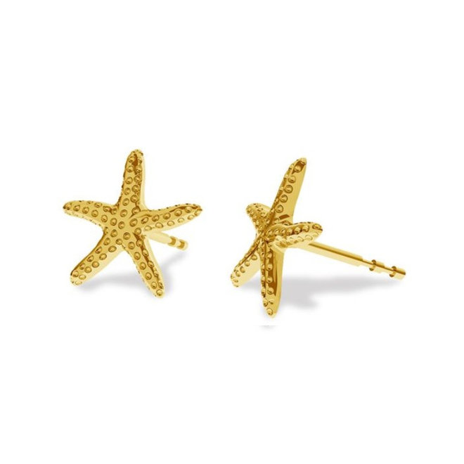 Earrings starfish ear studs - sterling silver gold plated - 1832