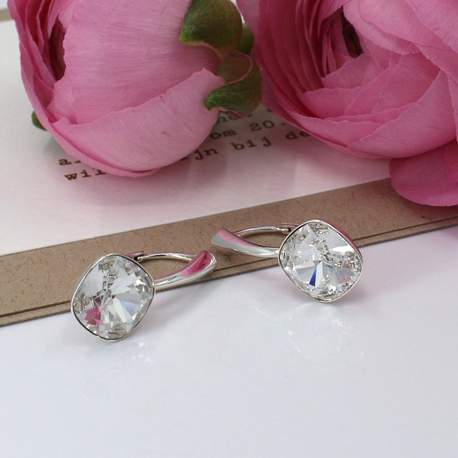 Earrings transparent Swarovski crystal 10 mm - sterling silver - ARLIZI 1849 - Isabel