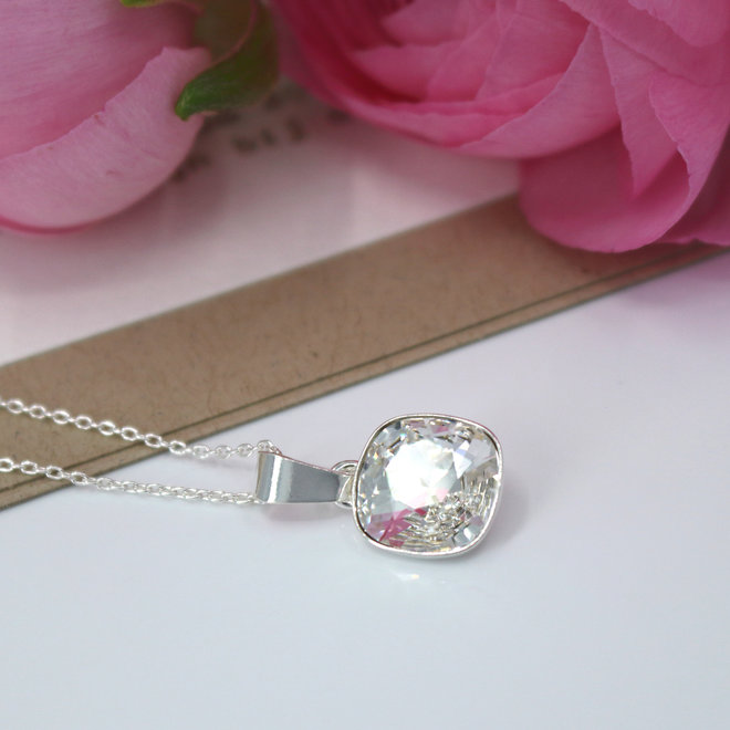 Necklace transparent Swarovski crystal pendant - sterling silver - ARLIZI 1851 - Isabel