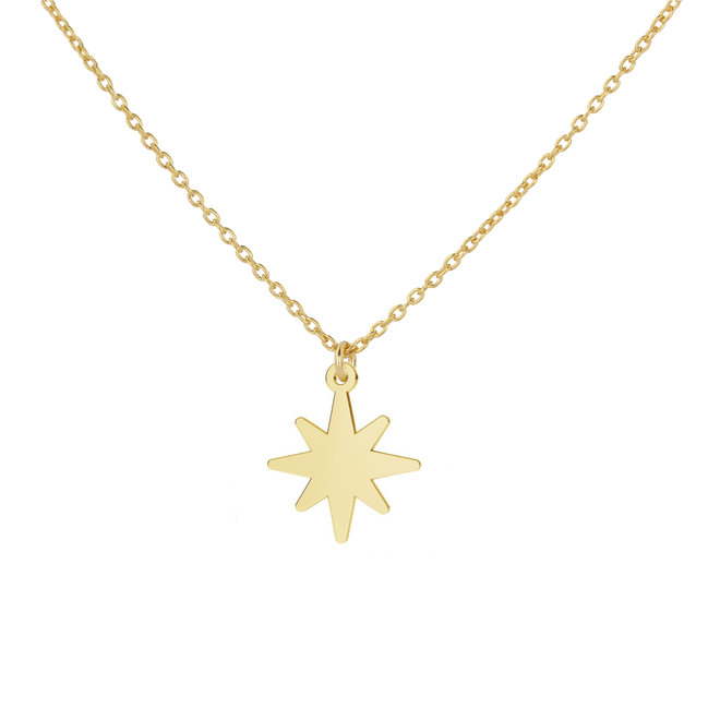Necklace star pendant - sterling silver gold plated - ARLIZI 1836 - Kendal
