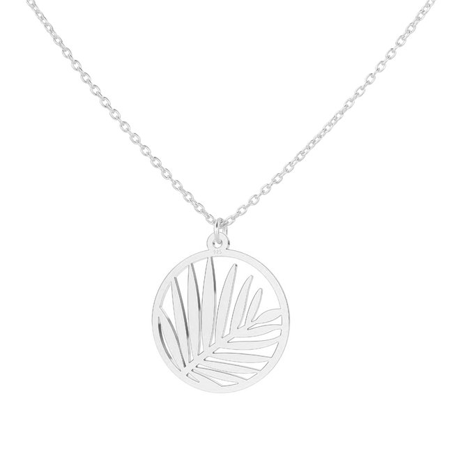 Necklace palm leaf pendant sterling silver - 1839