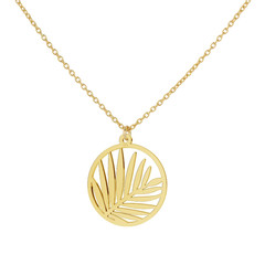 Necklace palm leaf pendant sterling silver gold plated - 1840