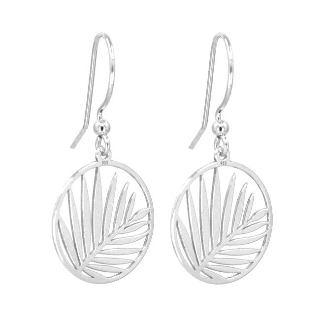 Earrings palm leaf pendant - sterling silver - 1837
