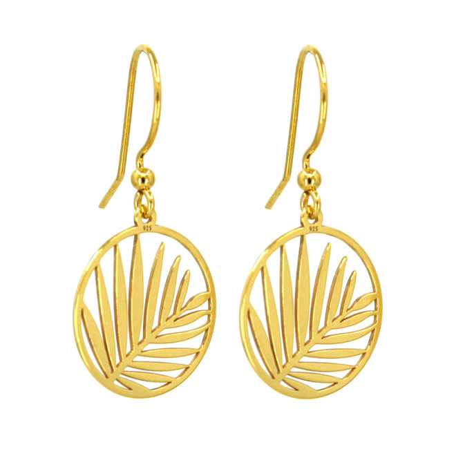 Earrings palm leaf pendant - sterling silver gold plated - ARLIZI 1838 - Kendal