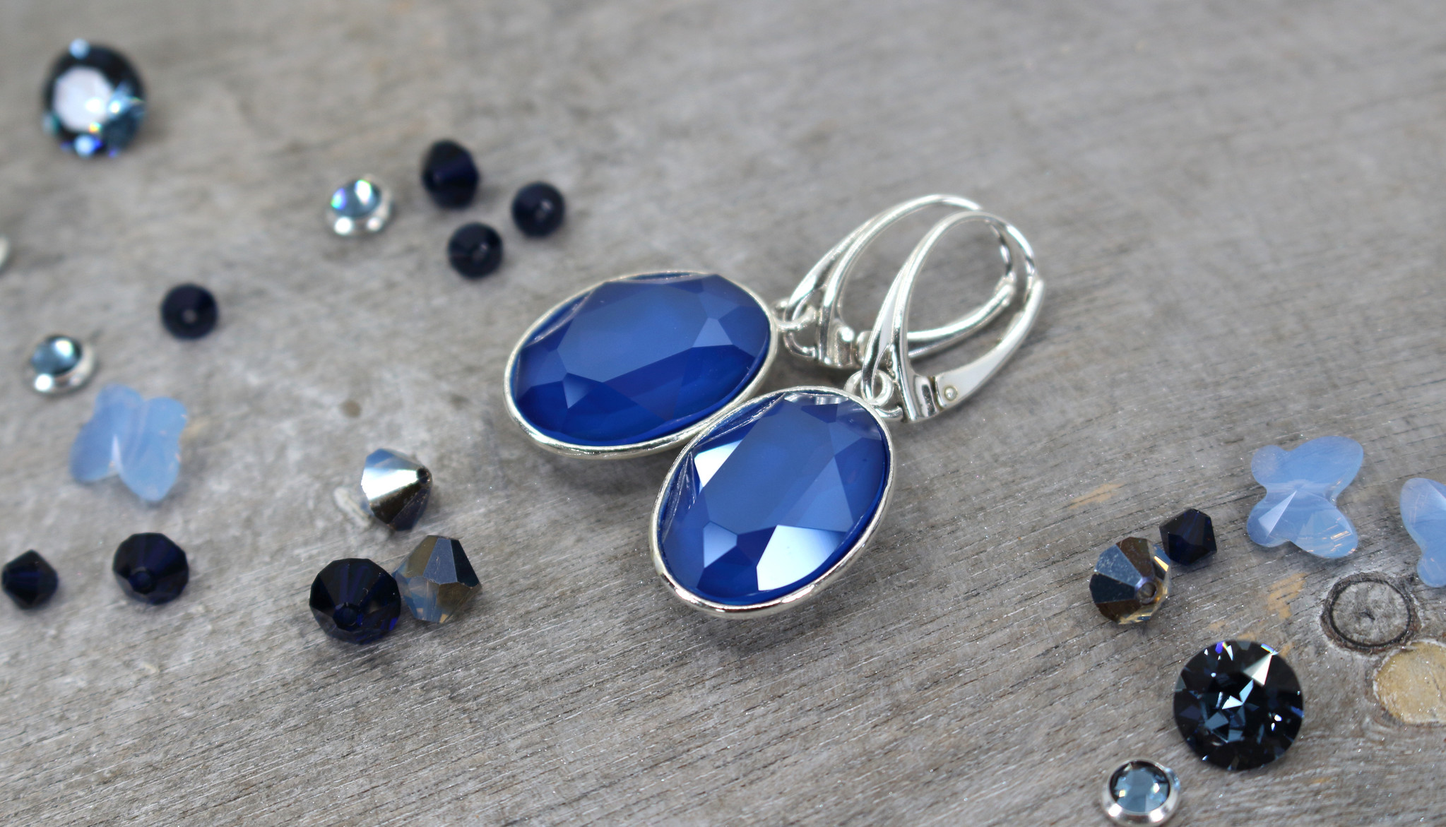 ARLIZI Jewelry sterling silver earrings blue Swarovski crystal