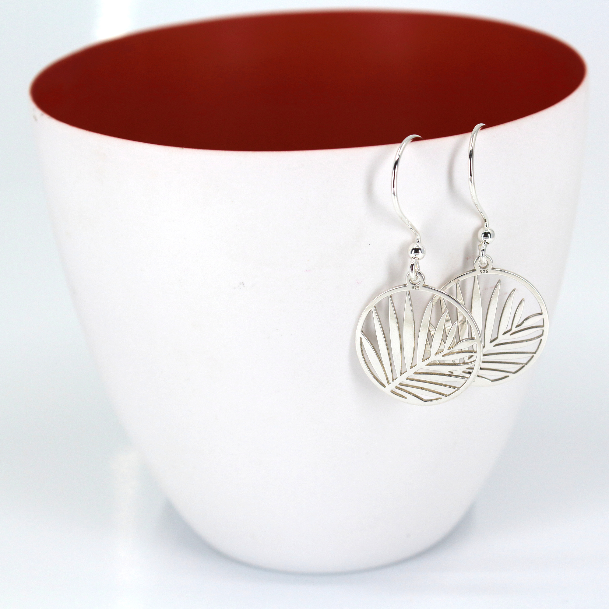 ARLIZI Jewelry sterling silver palm leaf earrings