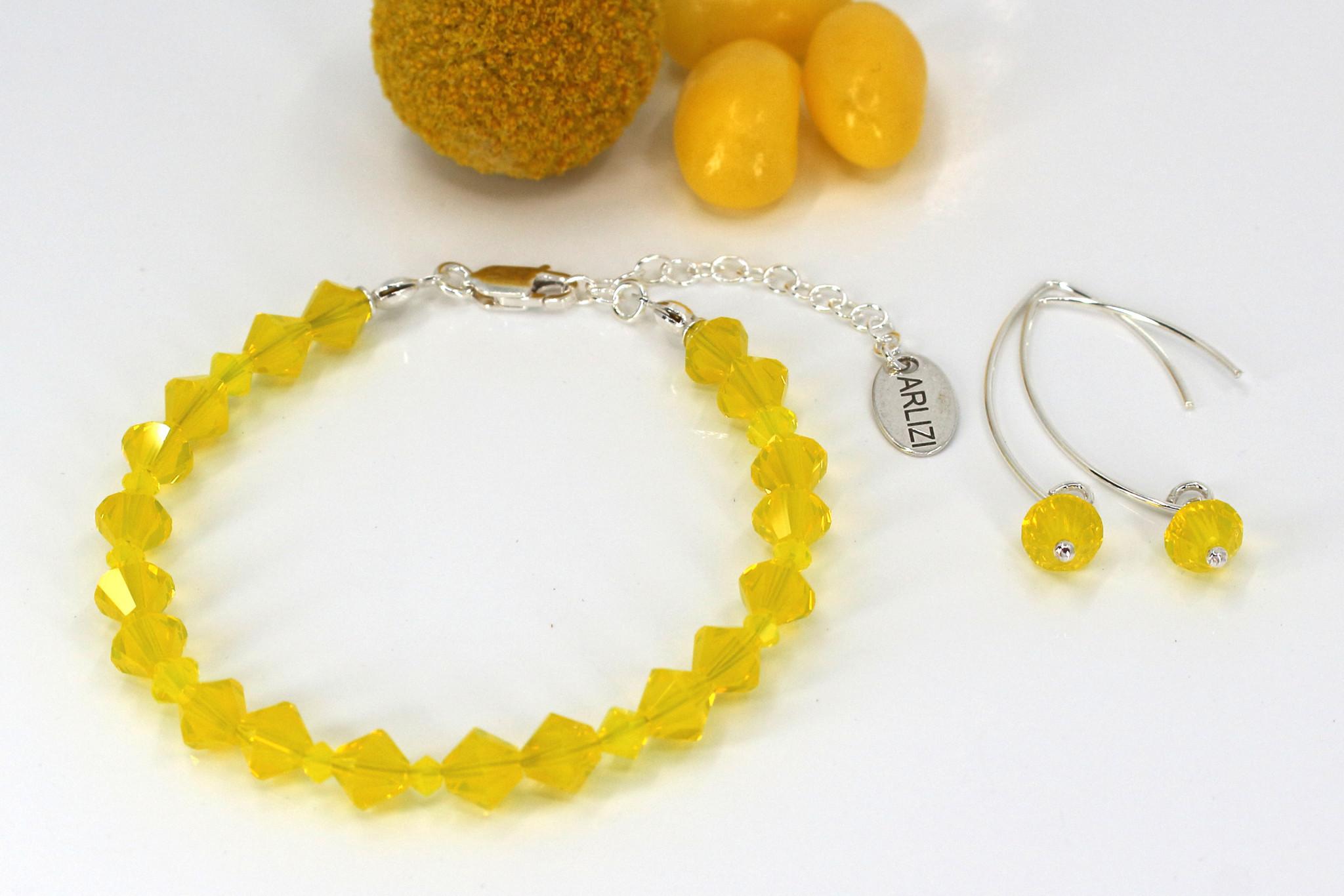 ARLIZI Schmuck Neon Gelb Armband Ohrringe
